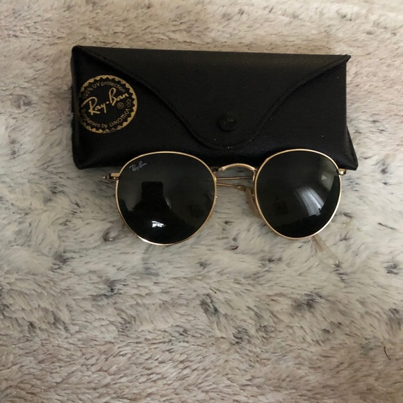 ray ban round metal sunglasses black